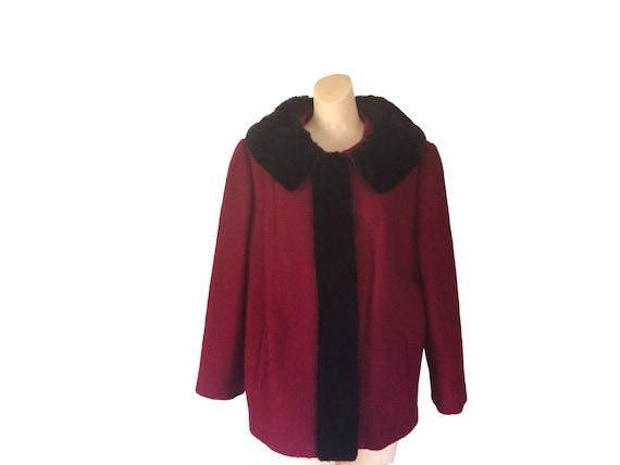 Vintage Red Winter Coat Women Mouton Fur Coat Mout