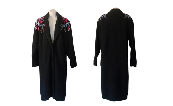 Long Black Cardigan Sweater 80s Coat Long Sweater