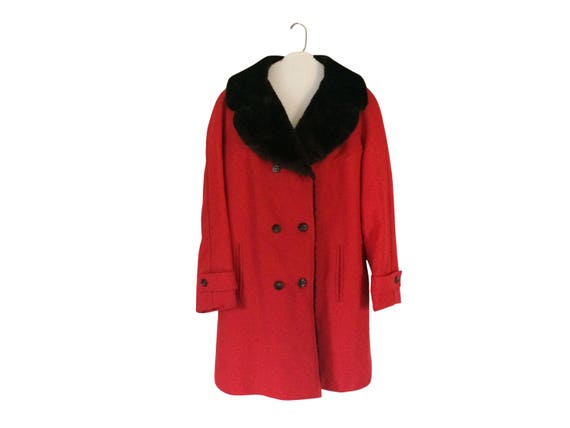 Vintage Brown Faux Fur Coat Women Red Coat Women W