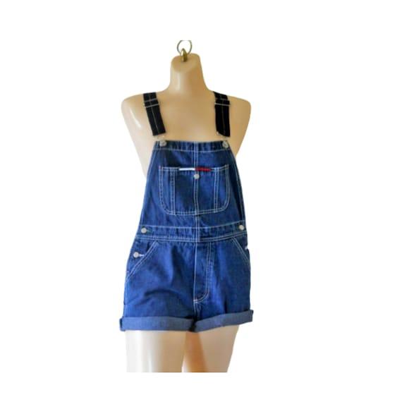 Women Denim Overall Shorts Vintage Tommy Hilfiger
