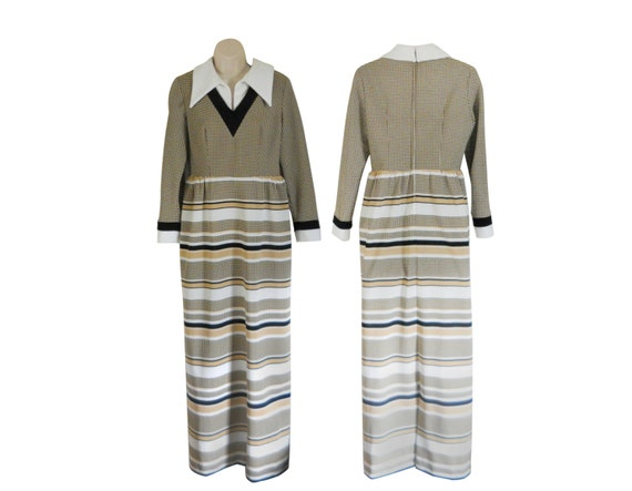 70s Maxi Dress 1970s Maxi Dress Polyester Dress Bl