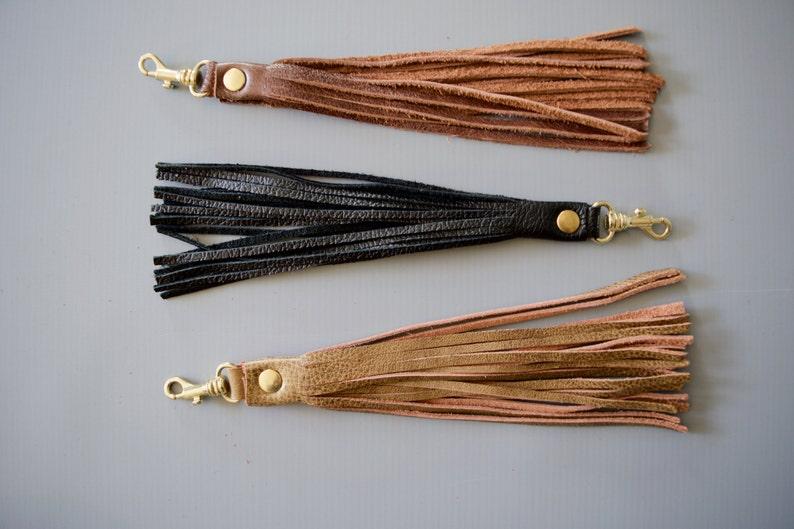 6b0a4ebd18a77 Leather tassel key fob chain   Hickory Tan   bag zipper pull