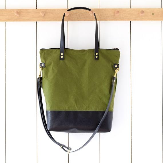 beeb09ce3ac8 fold over crossbody green shoulder bag, canvas and leather full zipper,  tote work bike laptop book bag minimal big green messenger purse