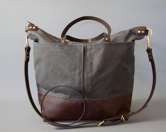 Leather Diaper Bag, market bag, changing bag, backpack option, work tote, travel bag, nappy bag, waterproof lightweight bag byHOLMgoods