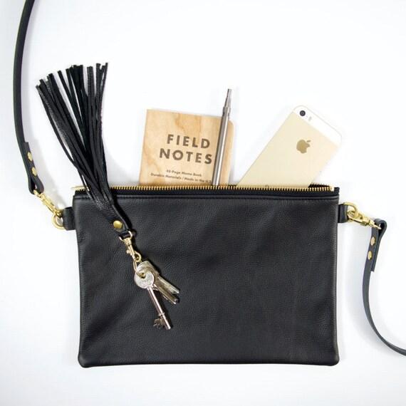 5a9a56d011 Minimalist LEATHER bag IONA Ebony Black leather crossbody