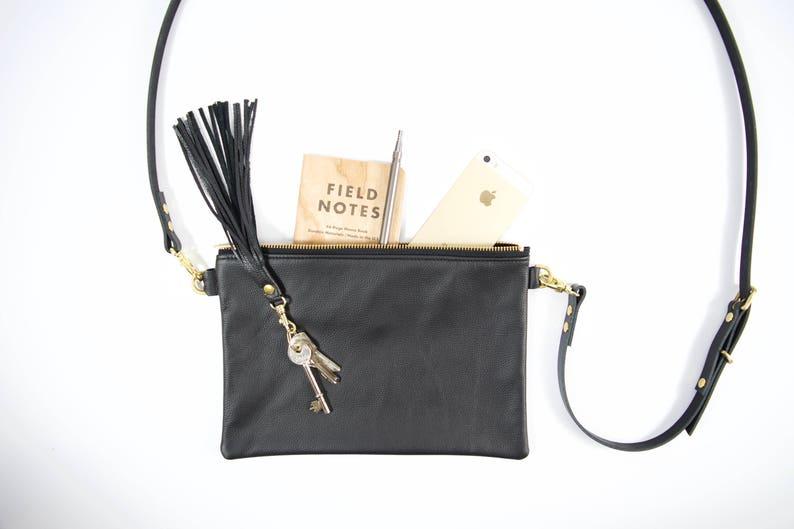 8380ca499d0ff Leather tassel keychain   Black leather fringe bag accessory