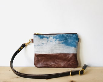 Mini Crossbody bag Leather and linen zipped Purse Indigo dye shibori  LITTLE FLOTTA Lightweight Adjustable Shoulder Travel Purse HOLMgoods