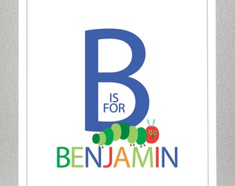Wall art for kids, Personalized name print - 8x10 - The Hungry Caterpillar