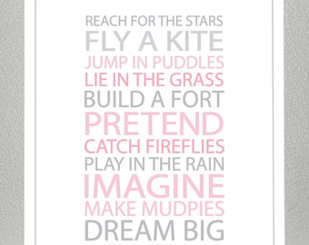 Kids wall art - BE A KID - Pink and Gray- 11x14