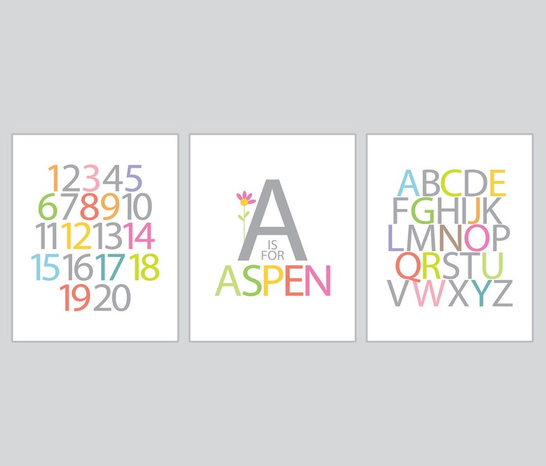 Girl room wall art, Personalized Name, Alphabet, Numbers- 3 Prints