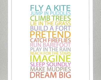 Nursery Decor - BE A KID - 8x10 Print