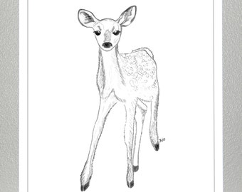 Deer- Fawn Pencil Sketch - Nursery Decor Print