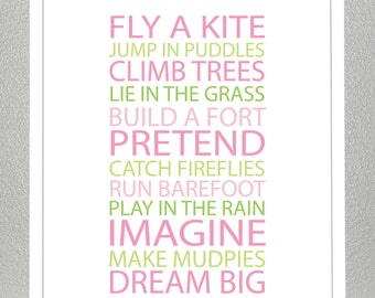 Kids room wall art - BE A KID-pink and green