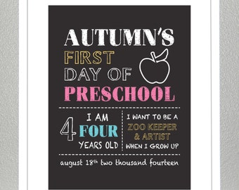 First Day Of School Sign - Personalized - Printable 8x10 PDF