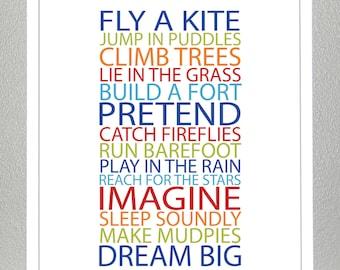 Playroom decor - BE A KID - Bold Boy Colors - 8x10 Poster