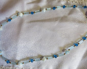 Sea Blue, White and Gold Necklace