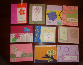 Set of 10 Greeting Cards Thank you cards Note Cards embelishments