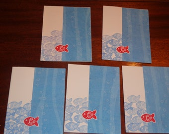 Set of 5 Fishy note cards