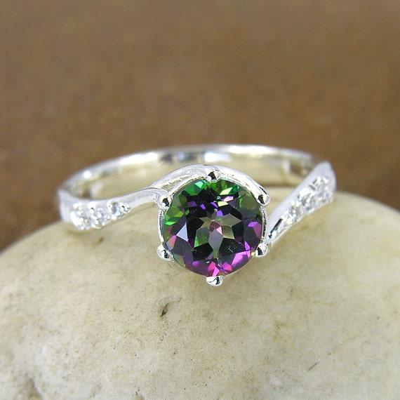 Mystic Topaz & Swarovski Crystal Ring In 925 Sterling