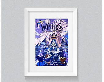 Wishes Poster Prints, Magical wall decor, Fireworks poster, Fireworks Display, Wall Decor, Cinderella's Castle, Main Street Fireworks