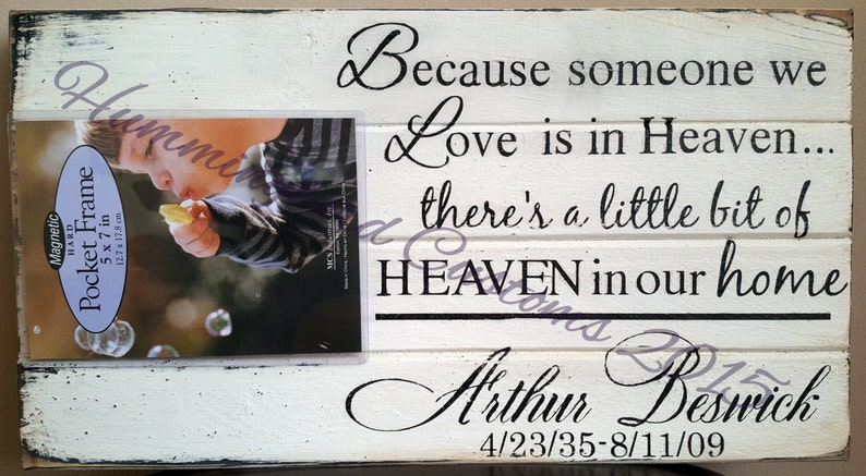 Personalized In Loving Memory Wooden Sign With Photo