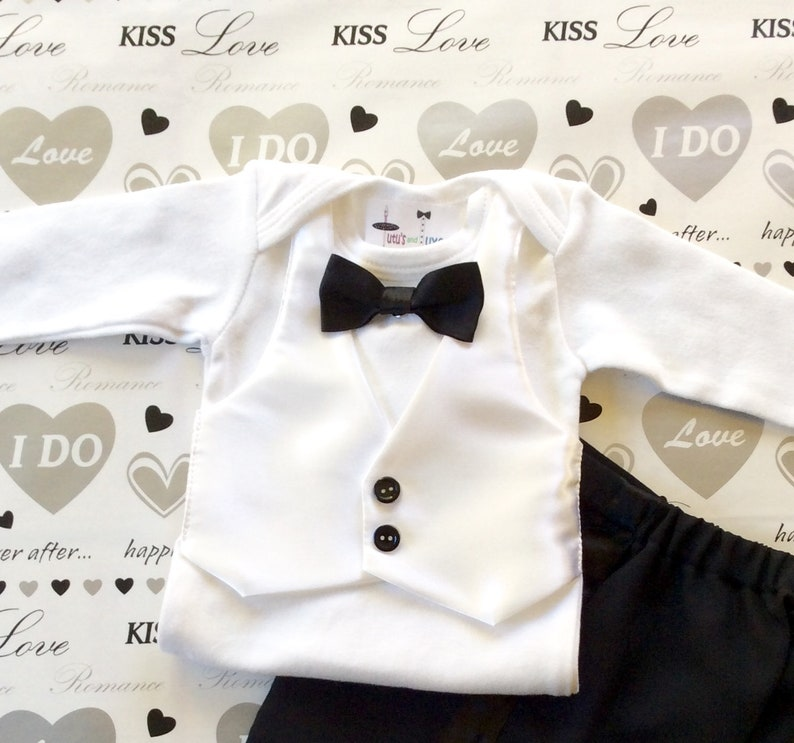 9e7f4b66999ee Tuxedo Onesie..Baby wedding outfit..Black White Suite..Baby