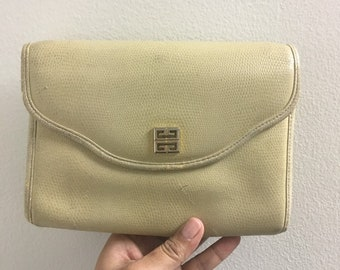 Vintage Cream Colored Givenchy Leather Clutch Purse Genuine Leather 25da7bd374