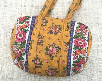 6d7800120a Vintage 90 s Vera Bradley Indiana Marigold Mustard and Pink Floral Quilted  Duffle Shoulder Bag Purse