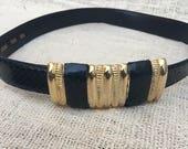 Vintage Navy Teal Genuine Snakeskin Belt with Gold Buckle Detail and Hook Closure