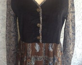 Vintage Long Sleeve Brown Blue Hippie Bohemian Paisley Floral Maxi Dress with Black Corduroy Top and Bottom Detail