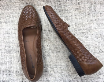 Vintage 90's Naturalizer Woven Leather Flats Women's Size 9M Brown Like New