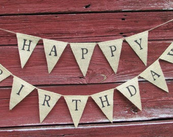 Happy Birthday Burlap Banner Pennant Bunting Decor Rustic