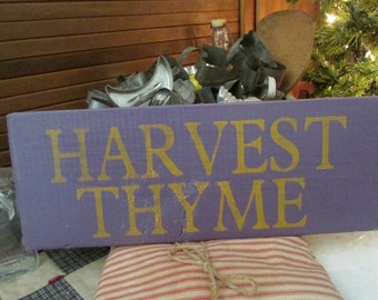 Harvest Thyme Sign, Reclaimed Wood Sign, Harvest Sign, Fall, Rustic Fall Sign, Prim Decor
