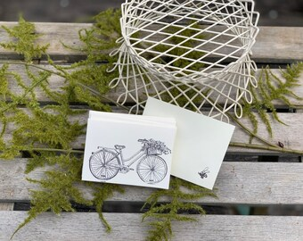Hand Stamped Bicycle Note Cards with Envelope / Set of 6 Mini Note Cards / Blank Note Cards