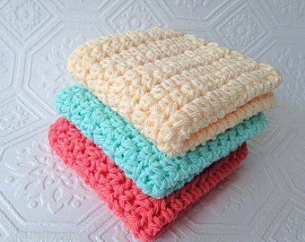 Cotton Washcloths,  Crochet Washcloths, Cleaning Cloth, Ecofriendly, Reusable, Set of 3, Crochet Washcloths, Handmade