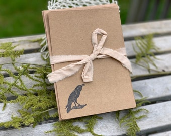 Crow Hand Stamped Stationery Set, Hand Stamped Note Cards with Envelopes, Set of 6 5 x 7 Note Cards with Envelopes