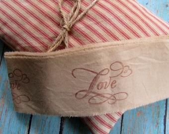 LOVE Hand Stamped Tea Dyed Muslin Trim, 2 yards vintage inspired trim, Hand Stamped, Embellishment