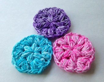 Cotton Crocheted Face Pads, Pink Blue and Purple, Face Scrubby, Handmade Reusable Face Pads, Puffy Face Rounds, Crocheted Face Scrubby
