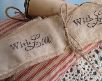 With Love Hand Stamped Muslin Trim Ribbon, 2 yards  Stamped Muslin Trim, Vintage Inspired, Hand Dyed, Hand Frayed, Hand Stamped