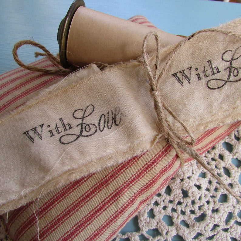 With Love Hand Stamped Muslin Trim Ribbon 2 yards  Stamped image 0