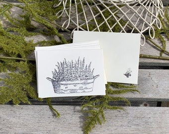Lavender Garden Hand Stamped Mini Note Cards with Envelopes / Set of 6 Mini Note Cards