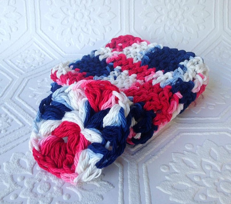 Crochet Washcloth and Face Scrubby set Red White and Blue image 0