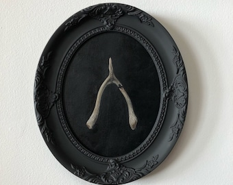 Original Oil Painting of a Wishbone in Hand-Painted Solid Wood Frame by Brooke Figer