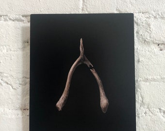 The Lucky One - Archival Metal Print of Original Oil Painting of a Wishbone
