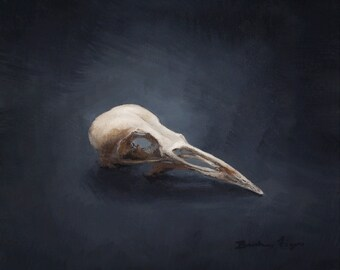 Bird Skull Archival Pigment Print of an Original Oil Painting in Gold Frame