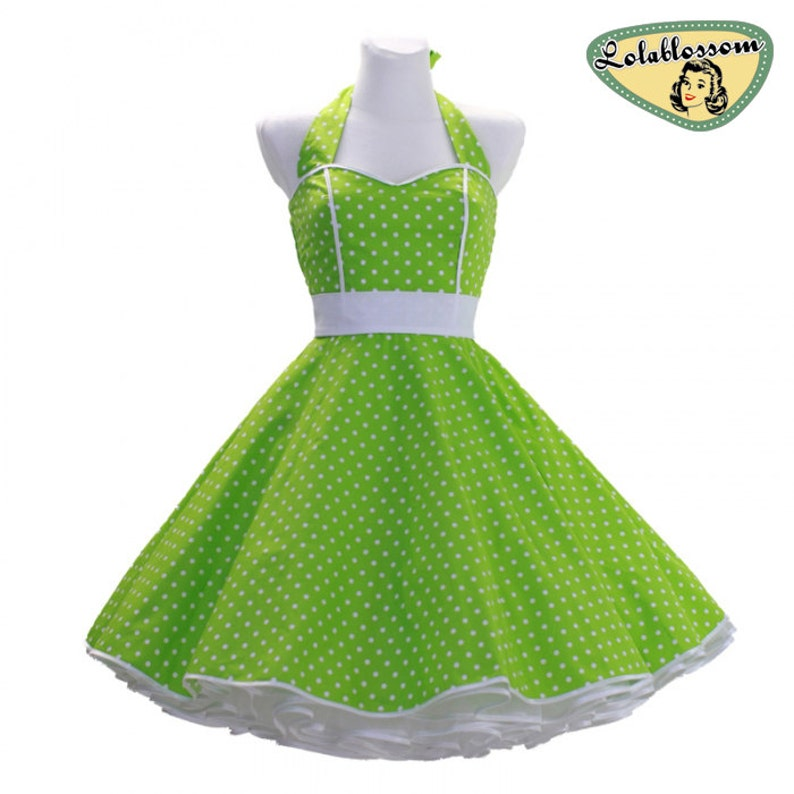 50/'s vintage dress full skirt green white polka dots sweetheart Tailor Made after your measurements #0012