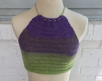Rainbow Crochet Halter Top