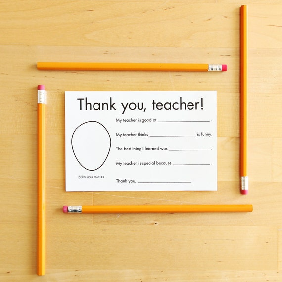 Thank You Card For Teacher Gift For Teacher Card Teacher Etsy