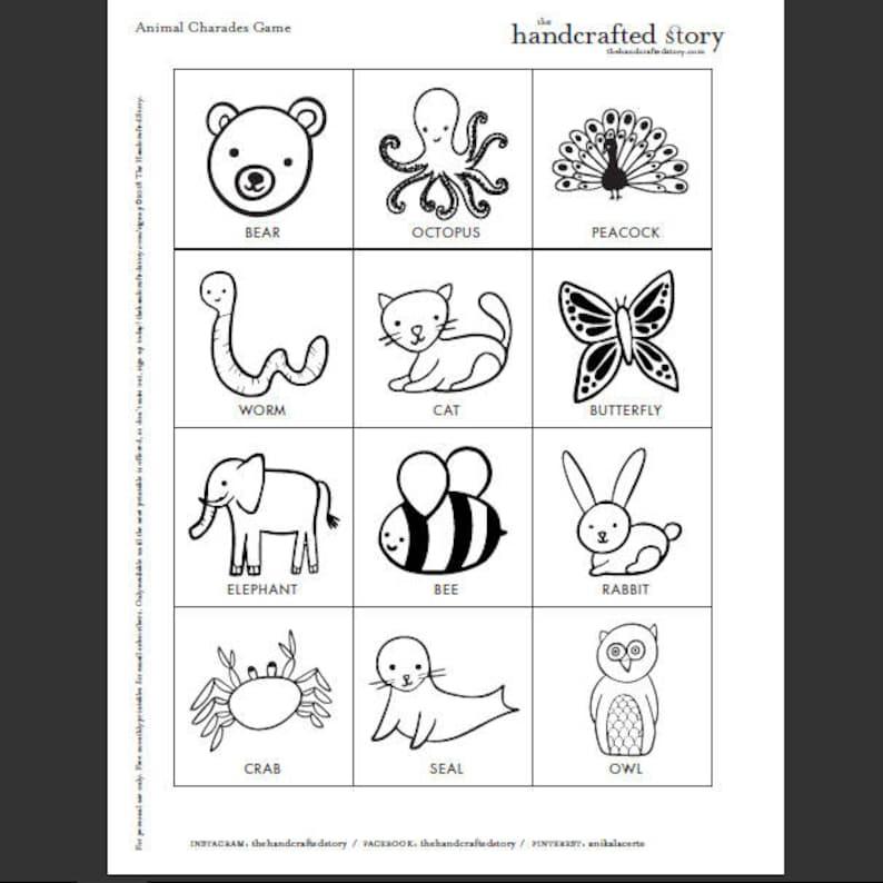 Animal Charades Game for Kids 48 hand-drawn animal ...