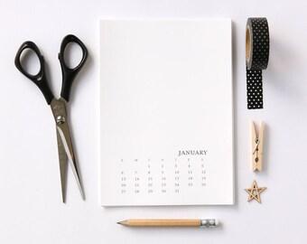 2019 Blank Calendar 5x7 Sunday-Saturday - Monthly Calendar - Printable DIY Calendar - Black and White Office Calendar